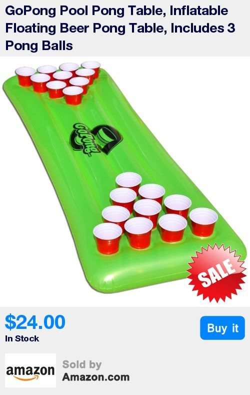 6ft Floating Beer Pong Table with 3 Pong Balls * Full 10 Cup Beer Pong on Each Side * Bright Neon Green Design * Inflates quickly by pump (not included) or mouth