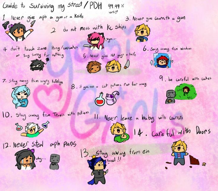 Hay you! You wanna know how to survive mystreet or PDH? Will then here a guide! It works! Trust me! Character and other belong to Aphmau ART BY: YAOIGIRLS379(on twitter)