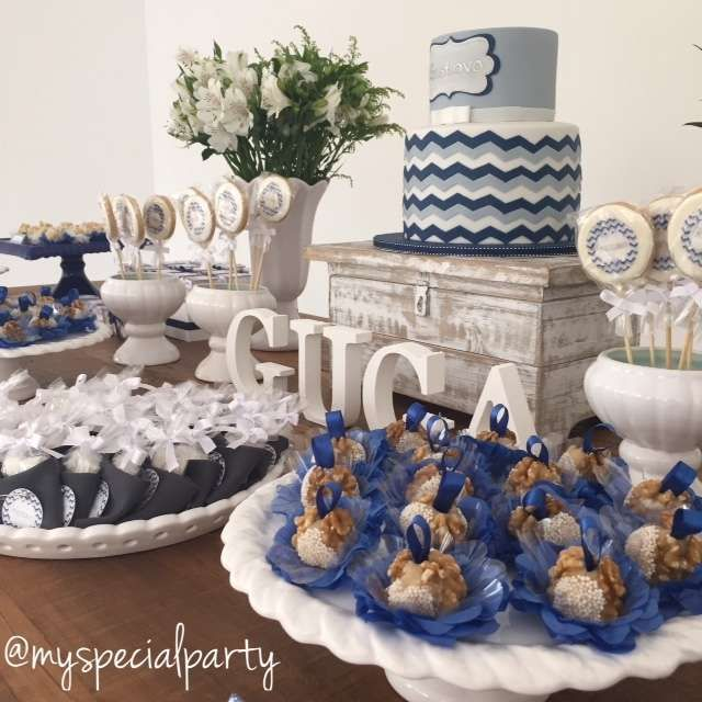 Chevron baby shower party cake and desserts! See more party ideas at CatchMyParty.com!
