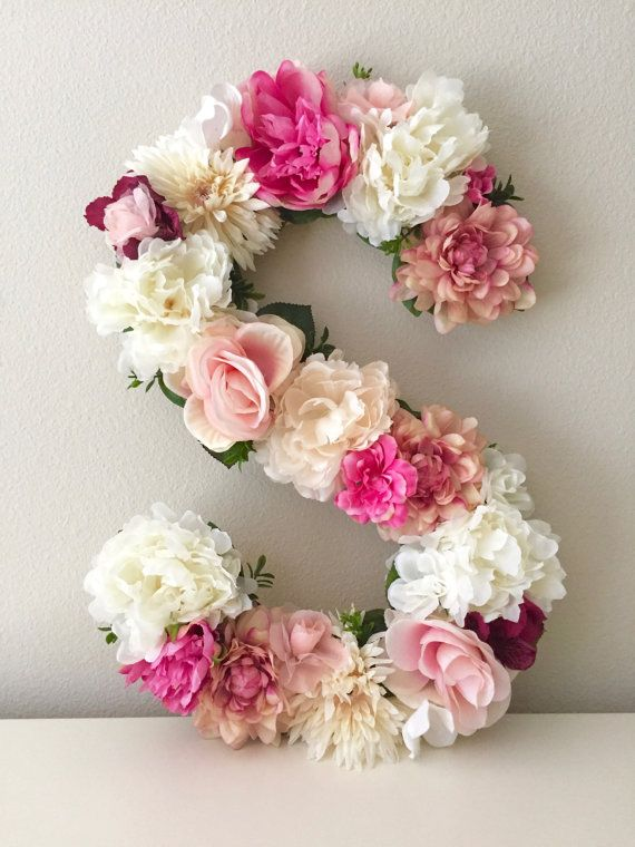 Floral Letter 19 24 Large Flower Letter Floral Number Custom Floral Letter Nursery Shabby Chic Decor Floral Monogram Birthday