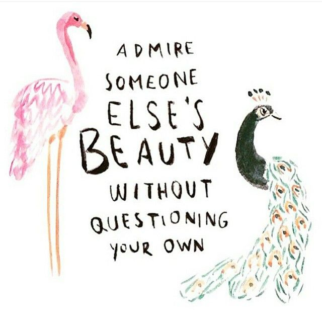 Admire someone else's beauty without questioning your own :) need to remember this when looking at others wall displays!