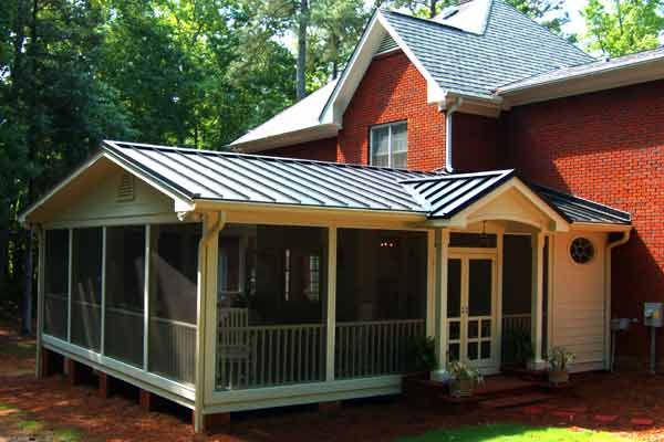 Black standing seam metal roof screened in porches pinterest porches metals and black - Screen porch roof set ...