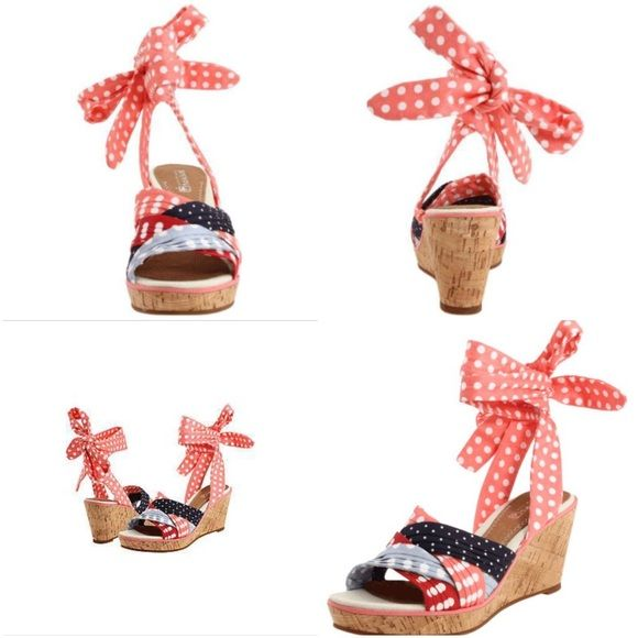 """Sperry wrap around Santa Rosa wedge sandal NWT sperry wrap around wedge """"Santa Rosa"""" sandal size 7 never worn but there are some spots that look like they need to be wiped down price reflects would be so adorable with a white fit and flare dress Sperry Top-Sider Shoes"""