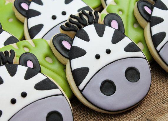Zebra Cookies~       By SweetTweets - Safari Zoo Jungle Zebra Cookies - 1 dozen, black, white