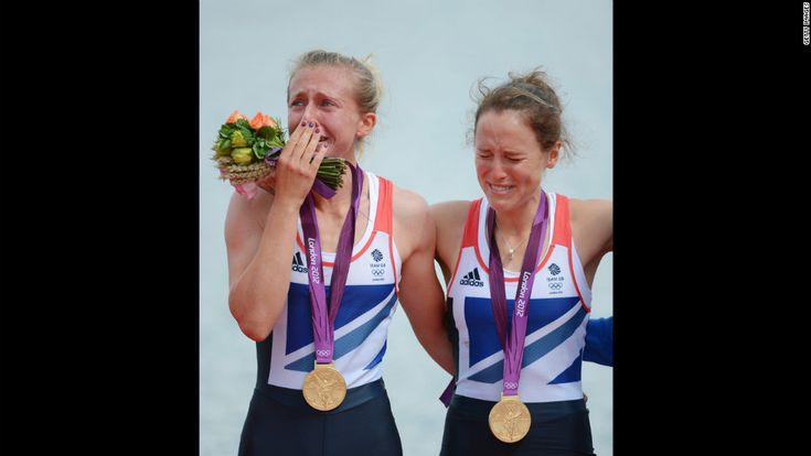 8/4/12 - Great Britain's Katherine Copeland and Sophie Hosking with gold in the lightweight women's double sculls.  This is happiness!!