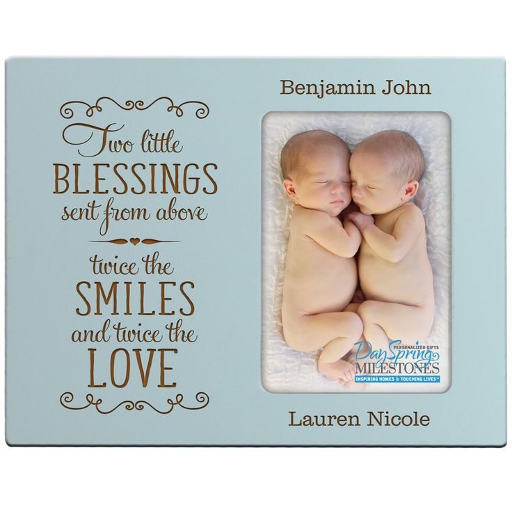 Personalized New baby gifts for twins picture frame for boys and girls Custom engraved photo frame for new parents nana,mimi and grandparents (Blue)