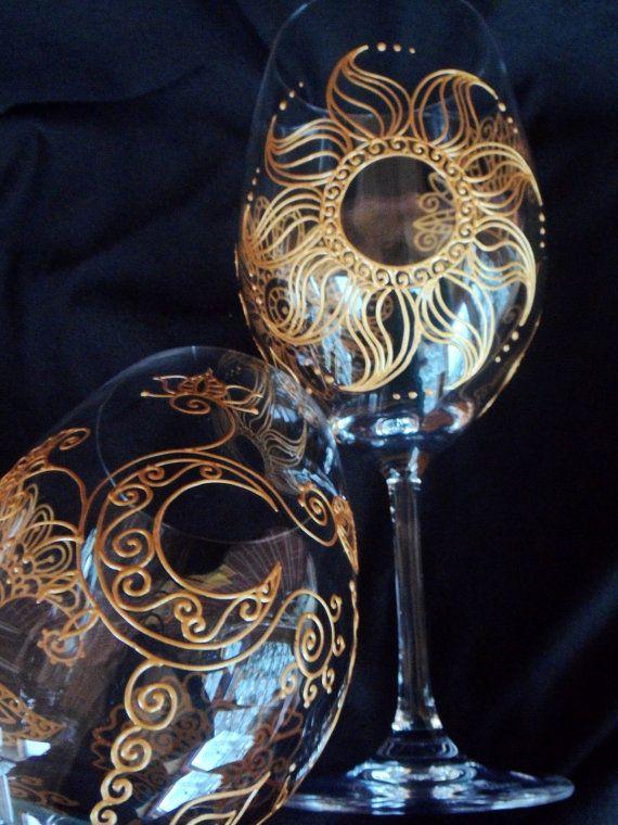 mehndi sun  u0026 moon designs on crystal wine glass 2  custom order  symbolizes deep ever lasting