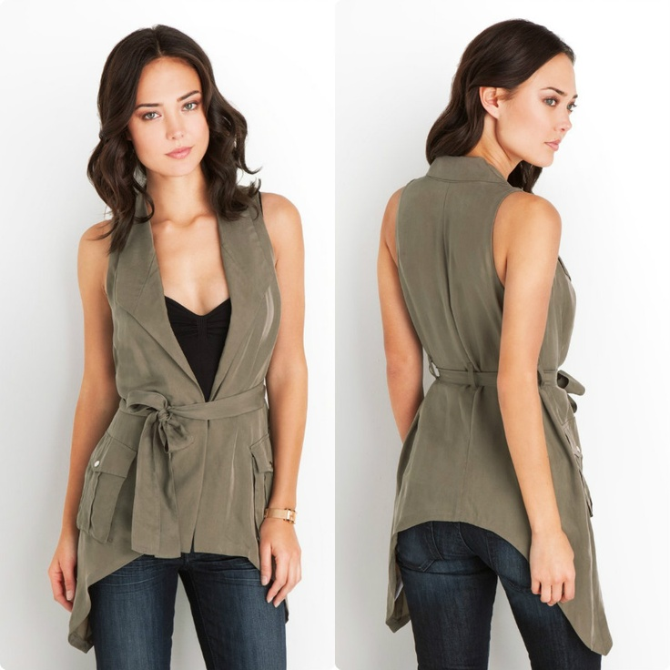 #GUESS Julianna Draped Cargo Vest - $98  A #fashion piece that can transform any look, this draped #cargo vest fits right in to the season's must-wear #military #trend. Wear it layered and open for street #style #cool or cinch the belt for a more polished look-the styling options are endless. Cupro draped #vest. Fold-down lapels. Cargo pockets with snap closures. Shark bite #hem. Sash belt. Hook and eye closure #women