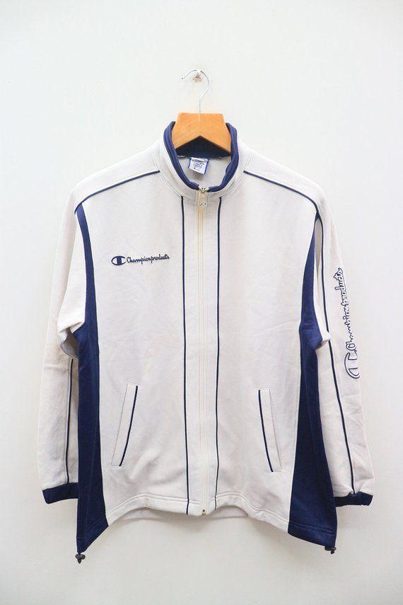 f42e74ba734c Vintage CHAMPION Product Small Logo Sportswear White Zipper Track Training Jacket  Size M  EddieBauer  LeCoqSportif  KarlKani  fila  lotto  puma  NewBalance  ...