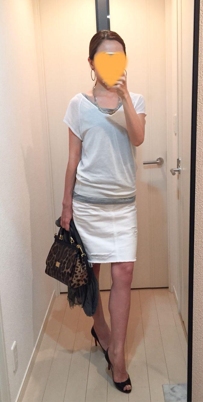 Top: Uniqlo, Tank: Supplement to a mag Denim skirt: AG, Bag: Dolce&Gabbana, Heels: Christian Louboutin