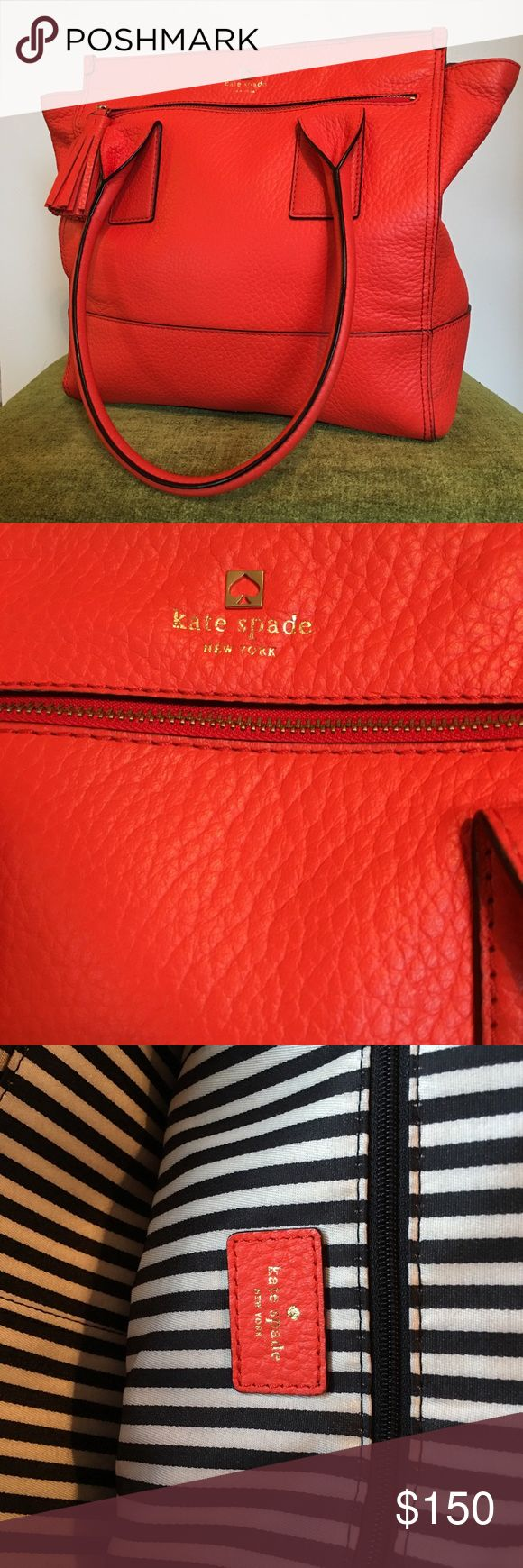 Large Kate Spade Handbag Clean interior with side zipper on both inside and front side. kate spade Bags Shoulder Bags