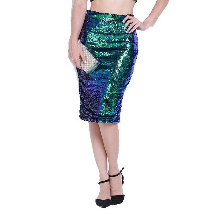 High Waist Bodycon Midi Length Lady Skirt Sexy Sequined Women Pencil Party Skirts Sexy Club Paillette Bandage SkirtFS0426 #Affiliate