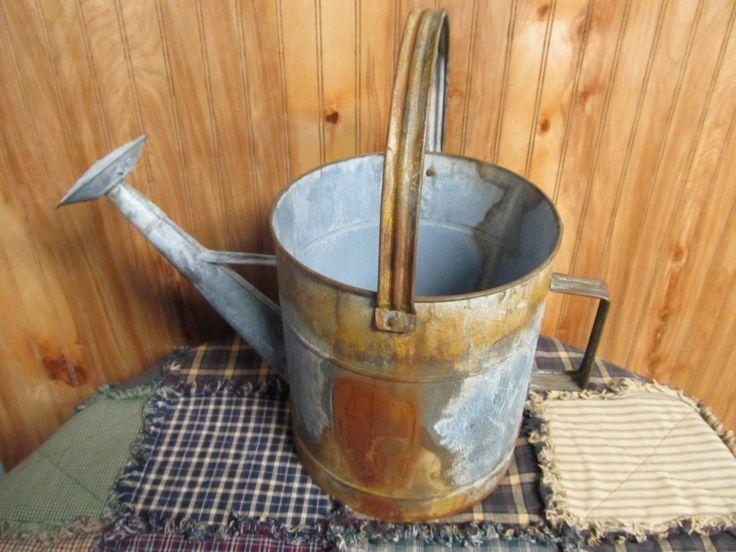 Primitive NO Wood LG Rusty Metal Watering CAN Planter ...