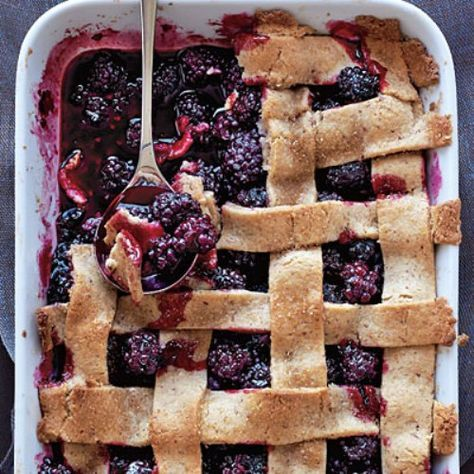 Blackberry Cobbler... pure old-fashioned  deliciousness       .....made with pie crust strips.