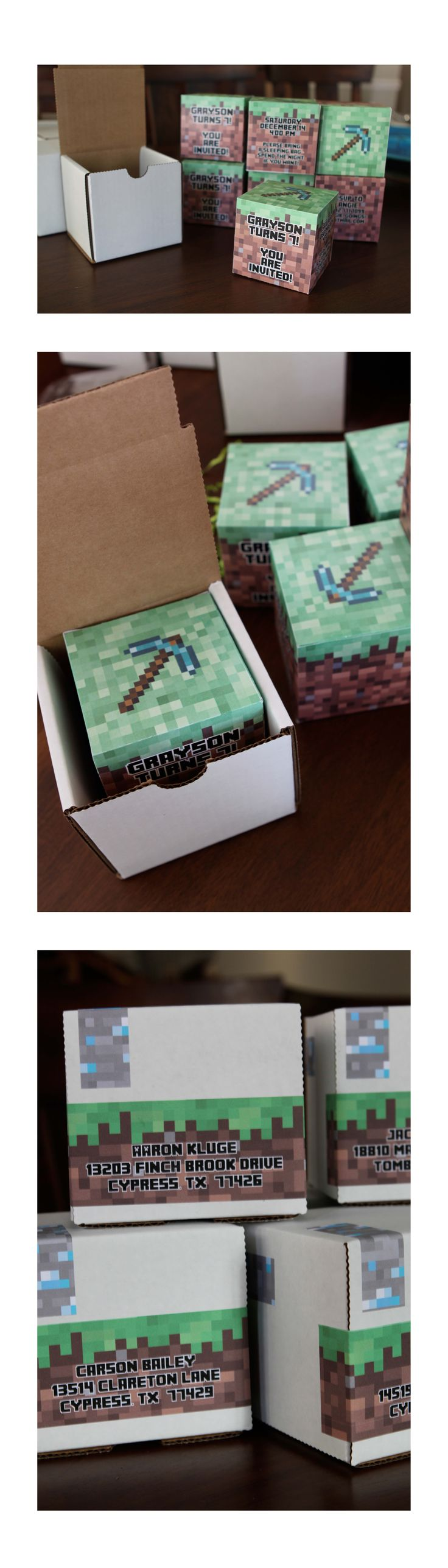 Minecraft box birthday party invitations