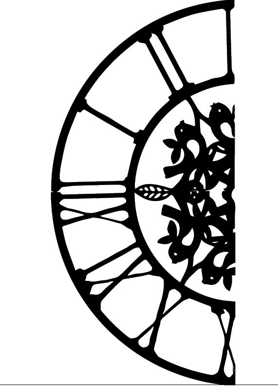 Adobe illustrator vector image created from scanned sketch - for use in laser cutting (to create a clock).