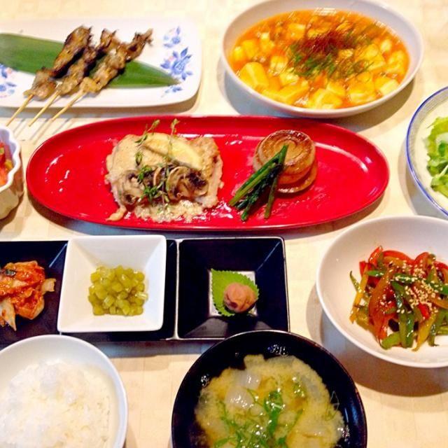 鶏モモ肉で3種のおかずを作りました。 鶏皮焼、鶏のレモンクリーム煮、麻婆豆腐です(*^^*) - 47件のもぐもぐ - 7月3日の晩御飯 by sippolove