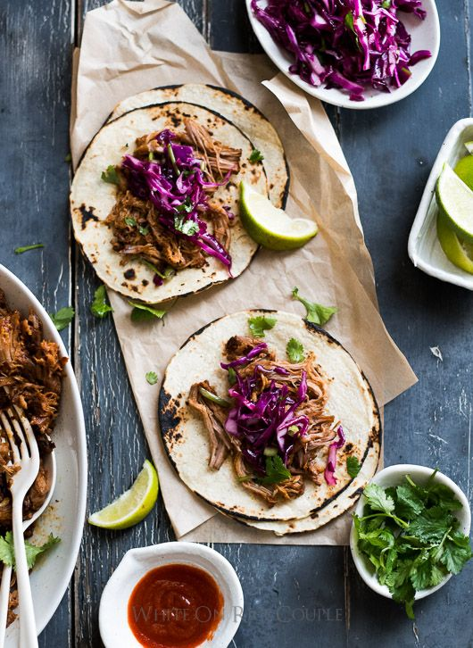 Sweet and Sriracha Spicy Pulled Pork Tacos from @whiteonrice on whiteonricecouple.com