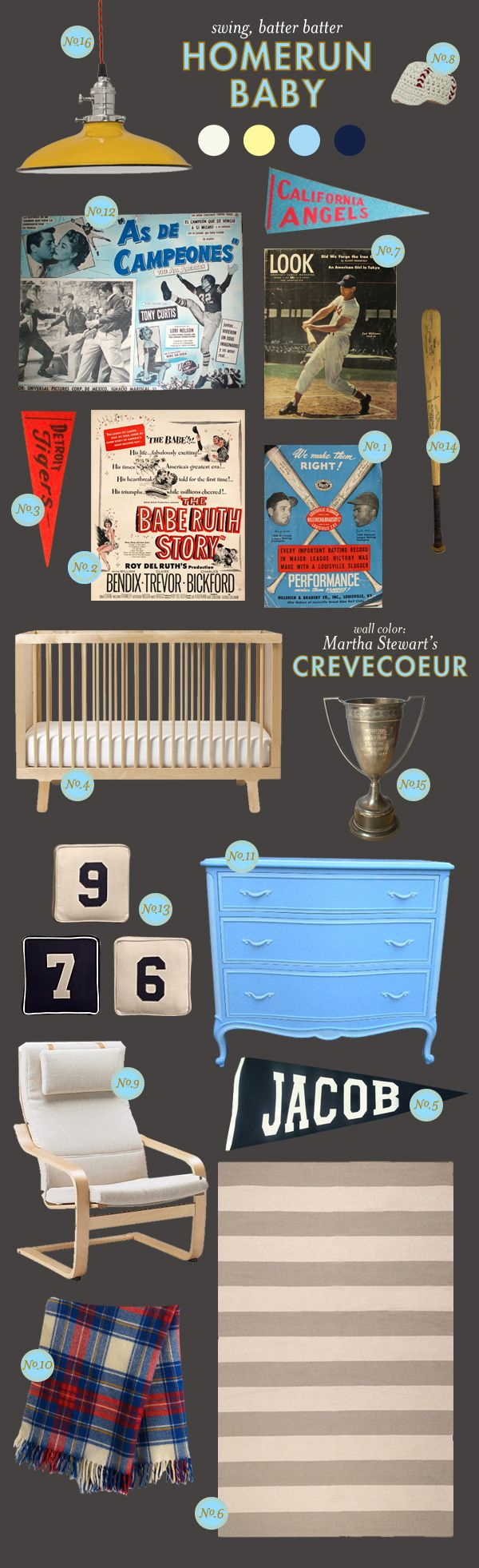 I love this vintage sports theme for a boy's room