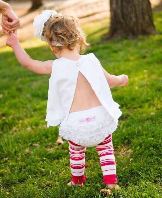 White Woven Ruffle Bloomers