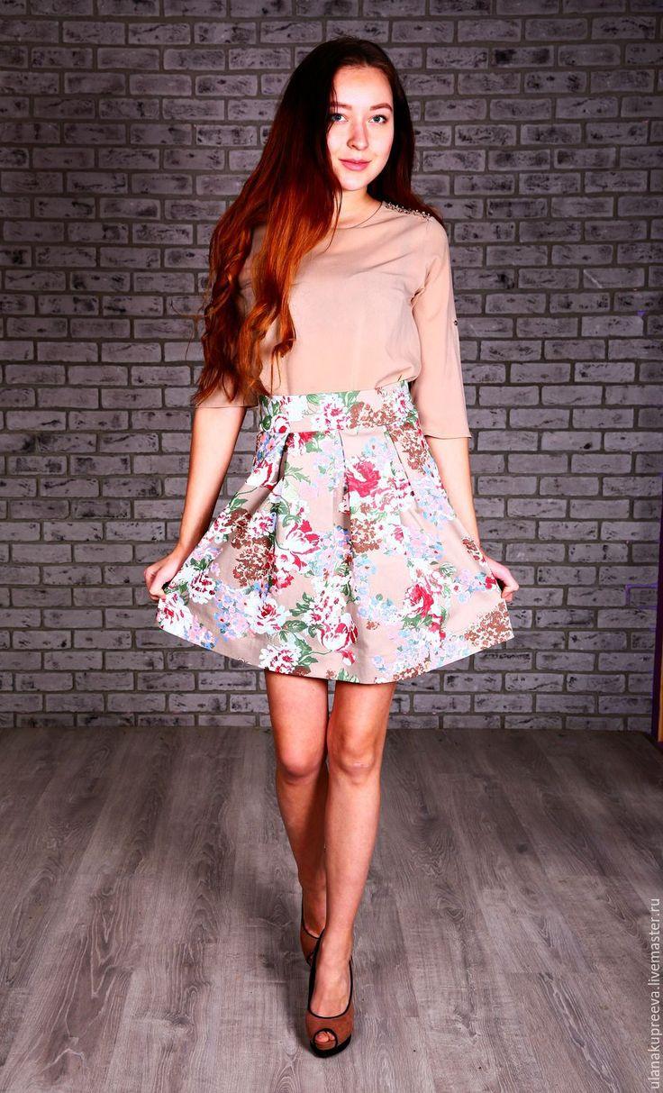 Купить Юбка летняя из хлопка (солнце) - юбка, юбка из хлопка, юбка хлопковая, юбка летняя