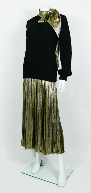 Valentino Vintage 1980s Gold Lame Ensemble with Oversized Bow Detail