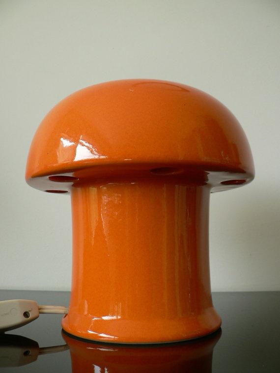 Vintage 1960s Orange Ceramic Lamp Dutch Design By