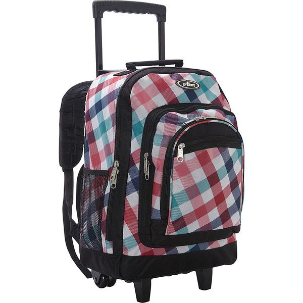 Everest Patterned Wheeled Backpack (255 SEK) ❤ liked on Polyvore featuring bags, backpacks, red blue diamond, wheeled backpacks, water bottle backpack, water bottle bag, print bags, blue backpacks and everest