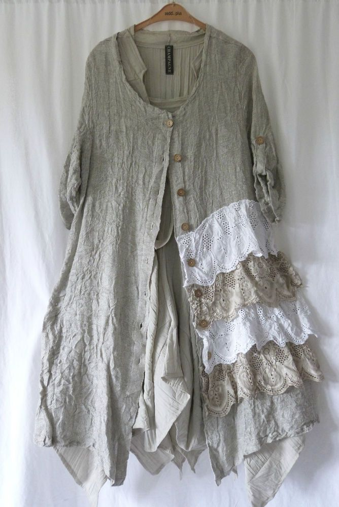 GERMAN ZEDD.PLUS LAGENLOOK RUFFLE LAYERED  LINEN/COTTON DRESS/ COAT L/XL #ZEDDPLUS