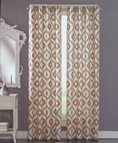 Cynthia Rowley Grommet Top Pair Of Curtains In Gray Rust Ivory Colors Ikat Medallion Print 50 By