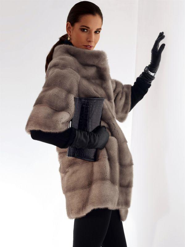 gray mink fur jacket
