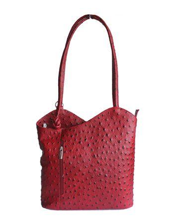 Multi-Way Red Ostrich Leather Shoulder Bag/Backpack