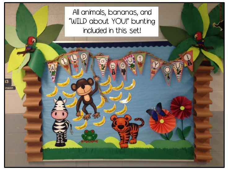 "This adorable bulletin board can be used to start the school year with your primary students or could be used at any time you do a rainforest/jungle habitat study! The animals, bunting, and bananas comes in a set called- ""Rainforest Decor and More!"""