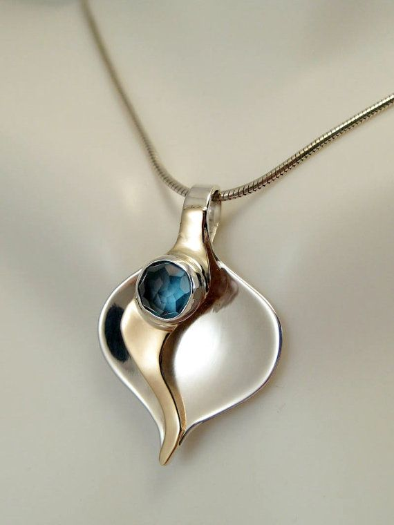 Rose Cut Blue Topaz Calla Lily Pendant  14kt Gold and