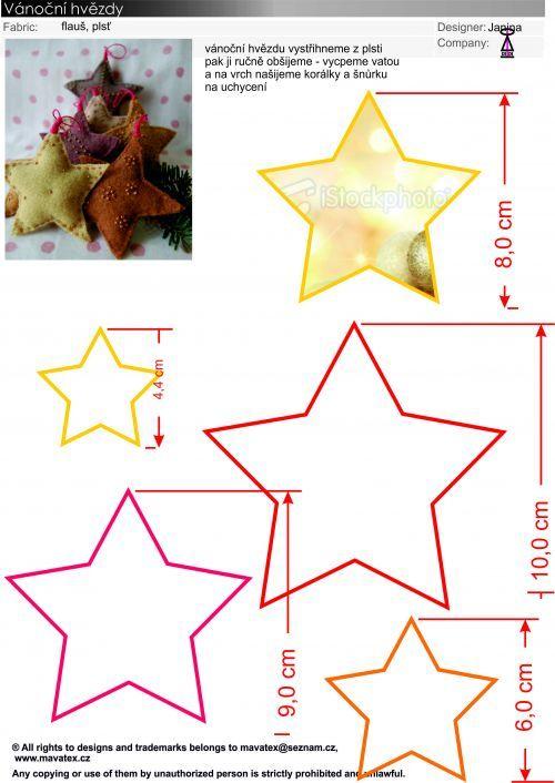 návod na hvězdu, vánoční aplikace, jak ušití vánoční ozdoby ...