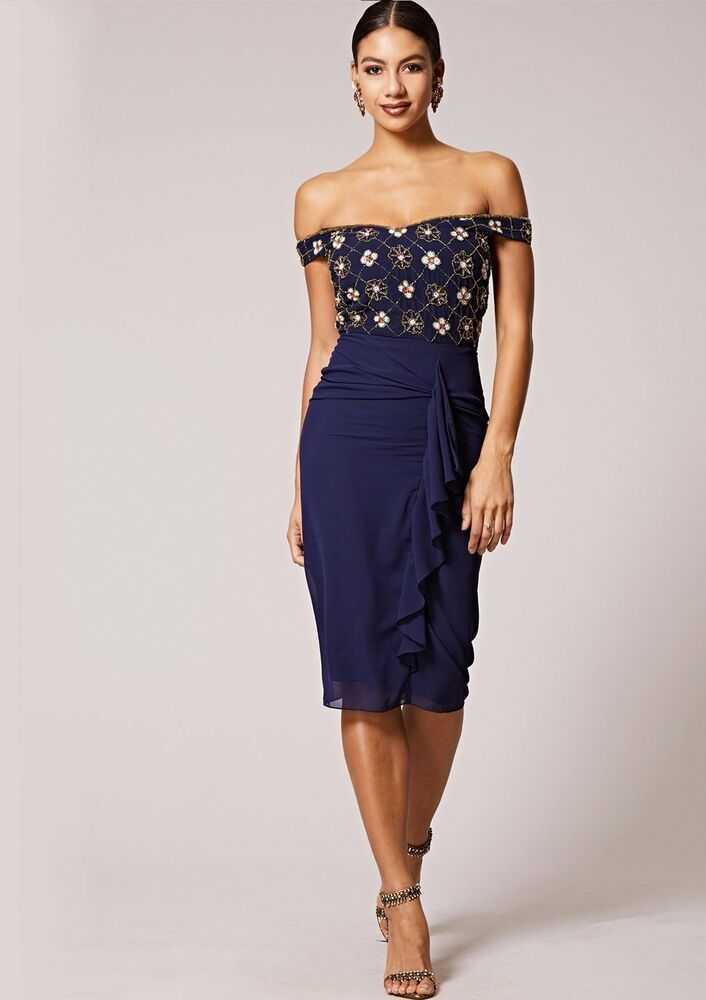 Virgos Lounge Navy Embellished Midi Occasion Prom Party Skater Dress 6 to 18