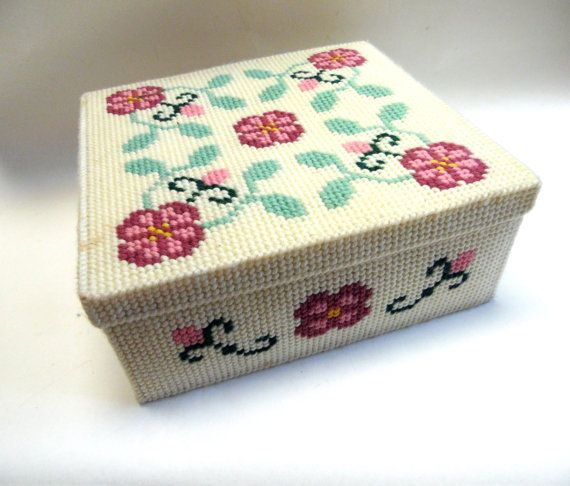 Embroidery Plastic Canvas Box Tin Lined Rose By Sweetie2sweetie