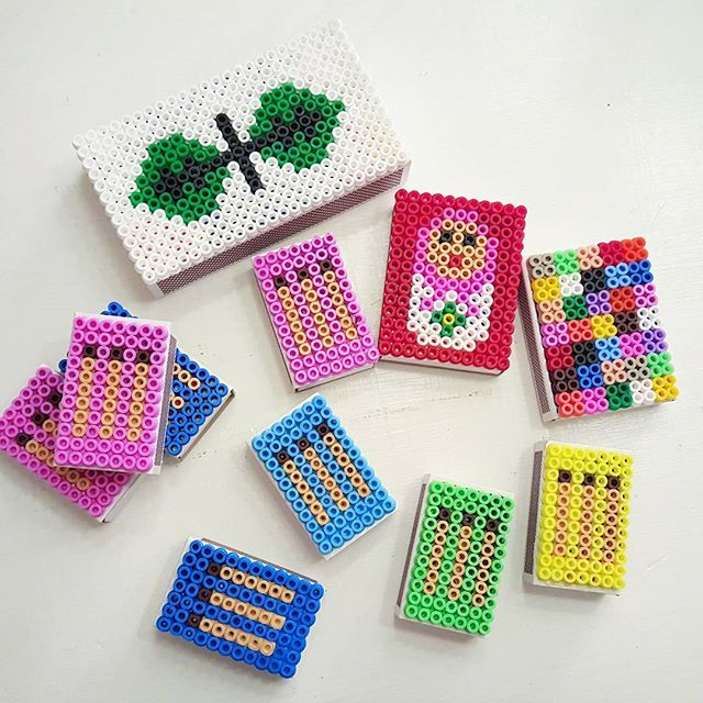 Hama beads on matchboxes by husochbus
