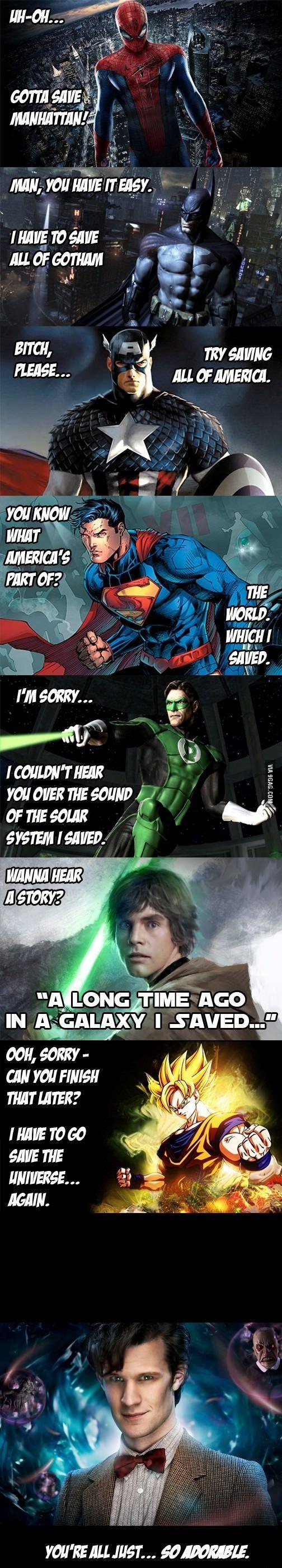 Who Watches The Watchers? Doctor Who Captain America Luke Skywalker Batman Superman Green Lantern Dragonball Z