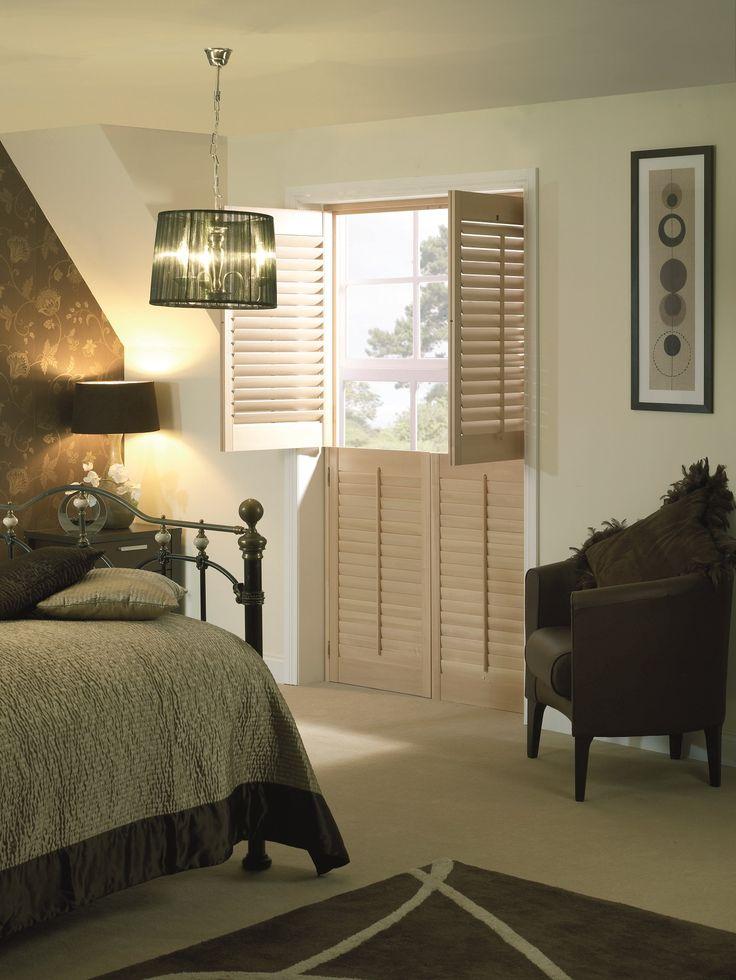 Oak Shutters by Apollo Blinds. Bedroom shutters. Modern window dressing. Contemporary bedroom design inspiration.