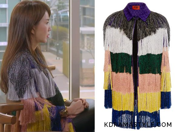 """Yoo Ji Na's Colorful Fringe Jacket - Missoni Lamé Fringe Jacket. Uhm Jung Hwa 엄정화 as Yoo Ji Na 유지나 in """"You Are Too Much"""" Episode 5."""