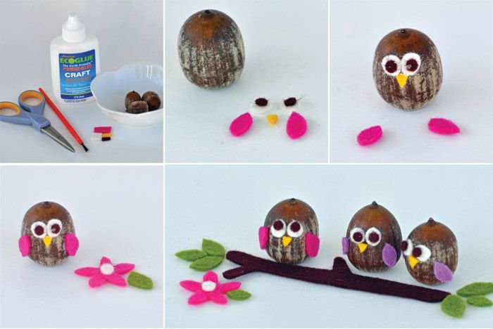 Acorn Owls and Curly Birds on a stick with felt eyes, wings, beak etc: Crafts Ideas, For Kids, Owl Crafts, Kids Crafts, Acorn Crafts, Acorn Owl, Diy, Craft Ideas, Owls