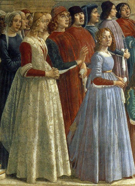 Bianca Riario 1478-1522 (on the right) with her mother, Caterina Sforza (on the left with the dress in the colours of Milan, red and white)