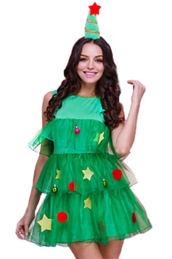 Green Cute Womens Christmas Tree Pleated Elf Santa Helper Costume pinkqueen.com
