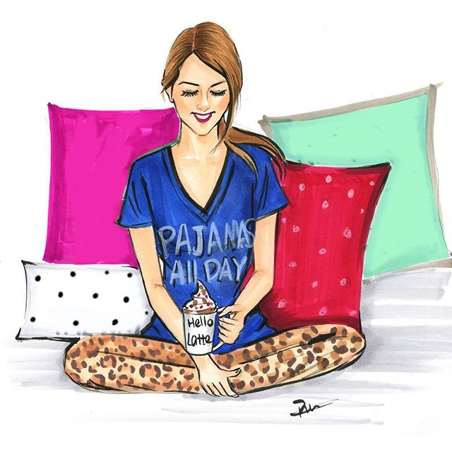 Fashion illustration titled Pajamas all day by Rongrong DeVoe. More fashion art at https://www.etsy.com/shop/RongrongIllustration