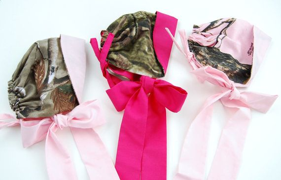 Realtree Camo Girls Baby Bonnet. Hot pink. Duck Dynasty inspired. Redneck baby shower.  $20  #Realtreecamo