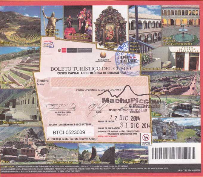Boleto Turístico de Cusco ou Cuzco -Agência de viagens para Machu Picchu Turismo para Machu Picchu Pacotes para Machu Picchu