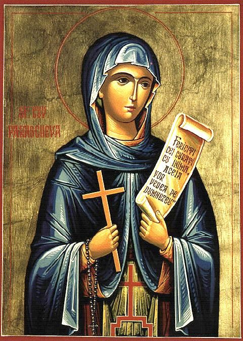 """Venerable Paraskeva (Parascheva / Petka) of the Balkans - Troparion — Tone 4 """"You are worthy of praise, Paraskeva. You loved the ascetic and hesychast life. You ran with longing to your Bridegroom, Christ. You accepted His good yoke in your tender years, marking yourself with the sign of the Cross."""