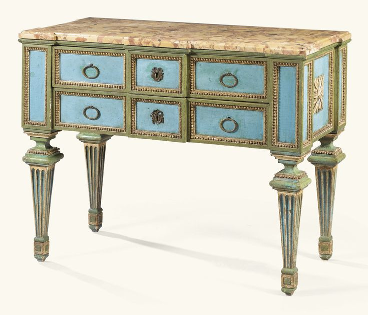 Late 18th c. Northern Italian  Commode; green and turquoise lacquer wood, marble