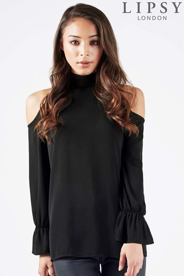 04d50ba116dd78 Womens Lipsy High Neck Cold Shoulder Blouse - Black